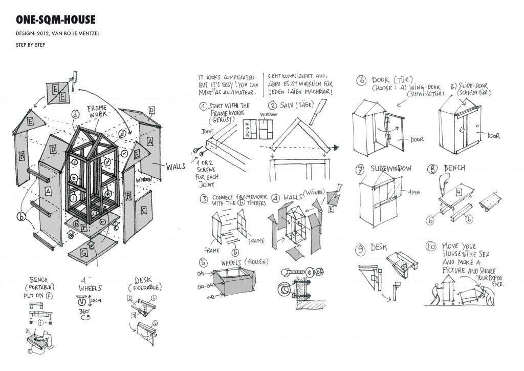 1m2-Haus-Bauplan
